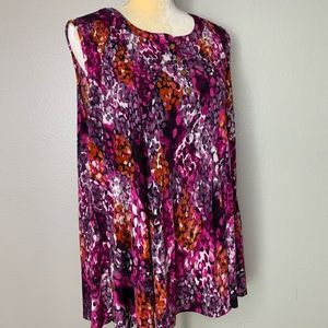 Charming Charlie's Purple Floral Tank Blouse 2X
